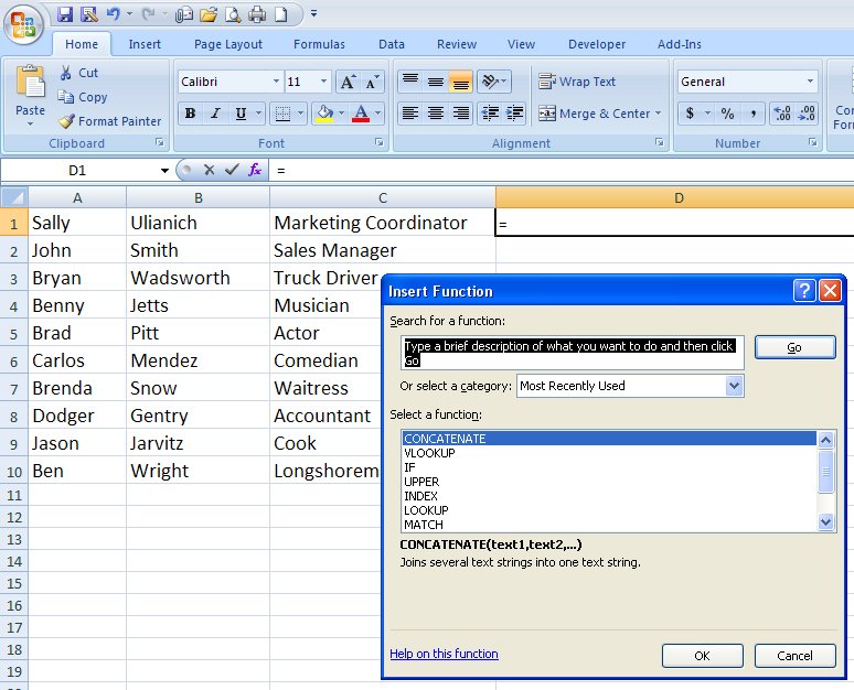Using The Concatenate Function In Excel To Be More