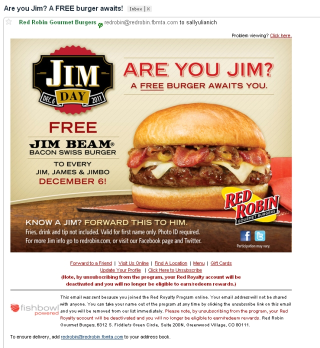Red Robin e-blast - Free burger if your name happens to be Jim, James or Jimbo
