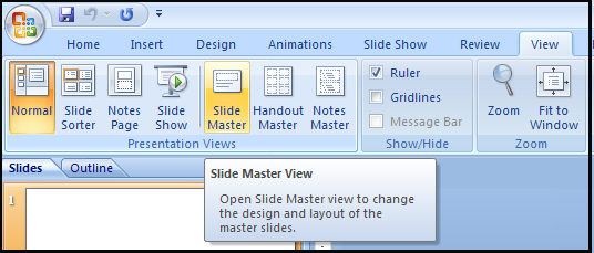 Accessing the Slide Master