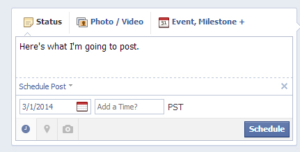 After entering a post, click on the clock icon below the status box. Select the date & time you would like your post published.
