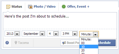 After entering a post, click on the clock icon below the status box. Select the year, month, day, hour and even minute you would like your post published.