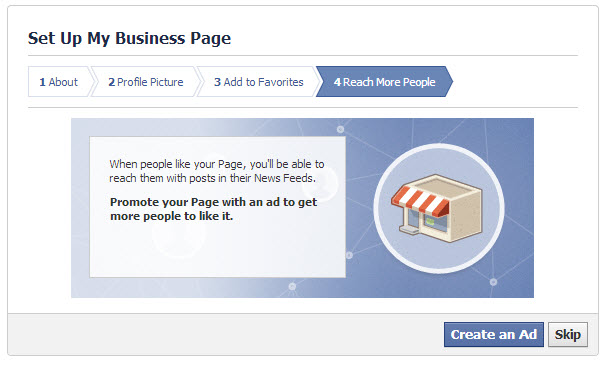 Create an ad if you're really ready, but it's probably a better idea to get your page all set up first