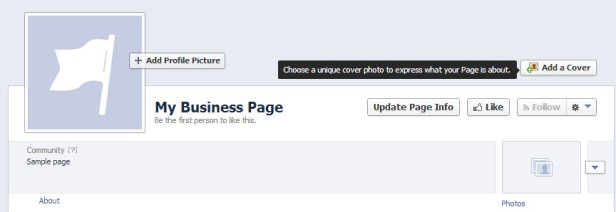 Your page is all set up now! Add a cover photo & update page info