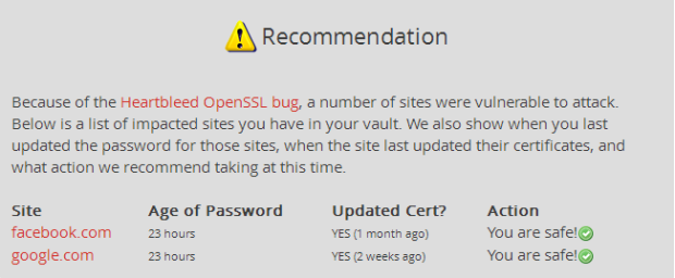 LastPass checks sites you use for the Heartbleed vulnerability and checks to see if your account is safe