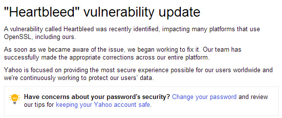 An article posted in the Yahoo help section claims the Hertbleed bug was patched, but users may want to change their passwords for added security.