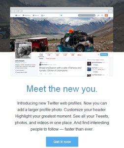 Twitter sent an email to (some? many?) users Thursday to announce the new profile.