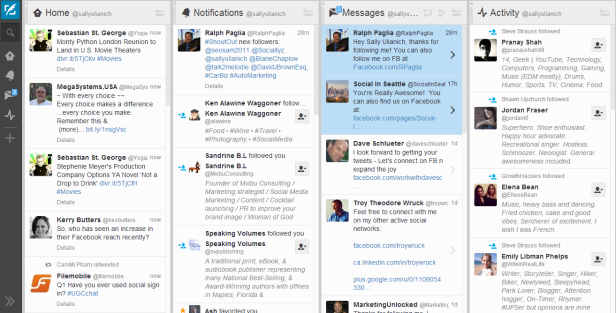 If you can handle all the Tweets, notifications & DM's flying down the page, TweetDeck is an awesome way to view your Twitter account(s).