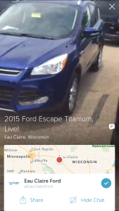 Screenshot of a live vehicle walkaround by Eau Claire Ford in Wisconsin