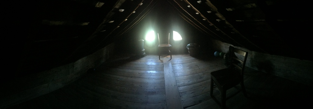 Panoramic photo of the Villisca Axe Murder house attic, September 2017.