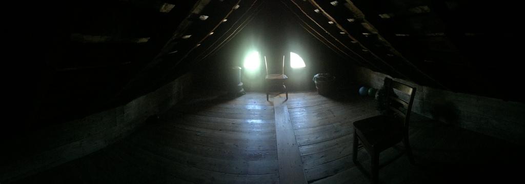 Panoramic photo of the Villisca Axe Murder house attic, September 2017.